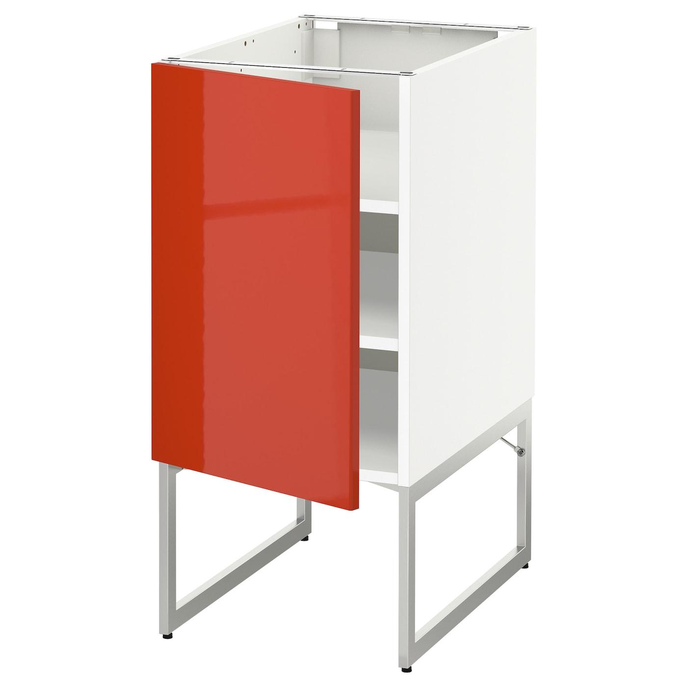 METOD Base Cabinet With Shelves White/järsta Orange