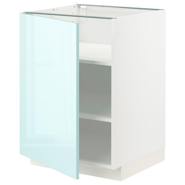 METOD Base cabinet with shelves, white Järsta/high-gloss light turquoise, 60x60 cm