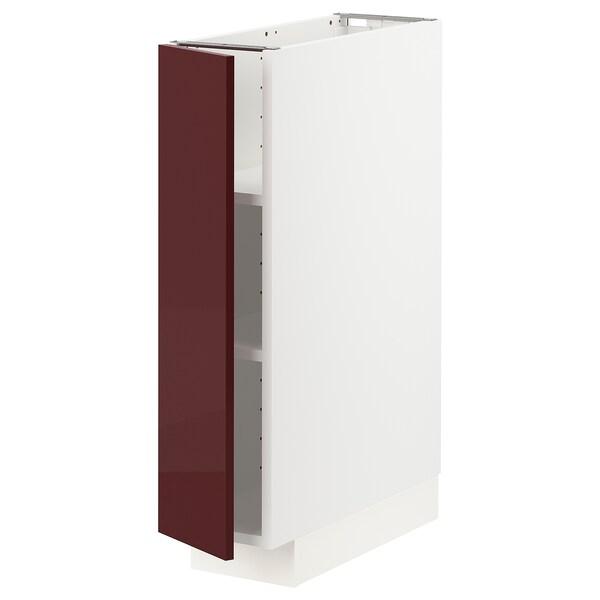 METOD Base cabinet with shelves, white Kallarp/high-gloss dark red-brown, 20x60 cm