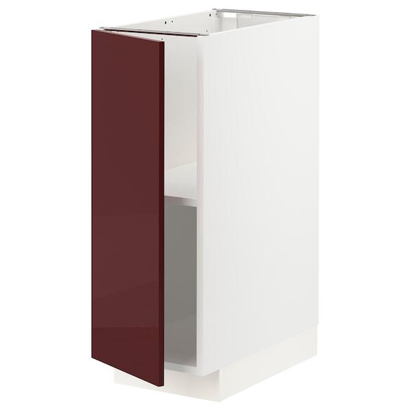 METOD Base cabinet with shelves, white Kallarp/high-gloss dark red-brown, 30x60 cm