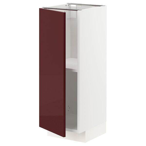METOD Base cabinet with shelves, white Kallarp/high-gloss dark red-brown, 30x37 cm