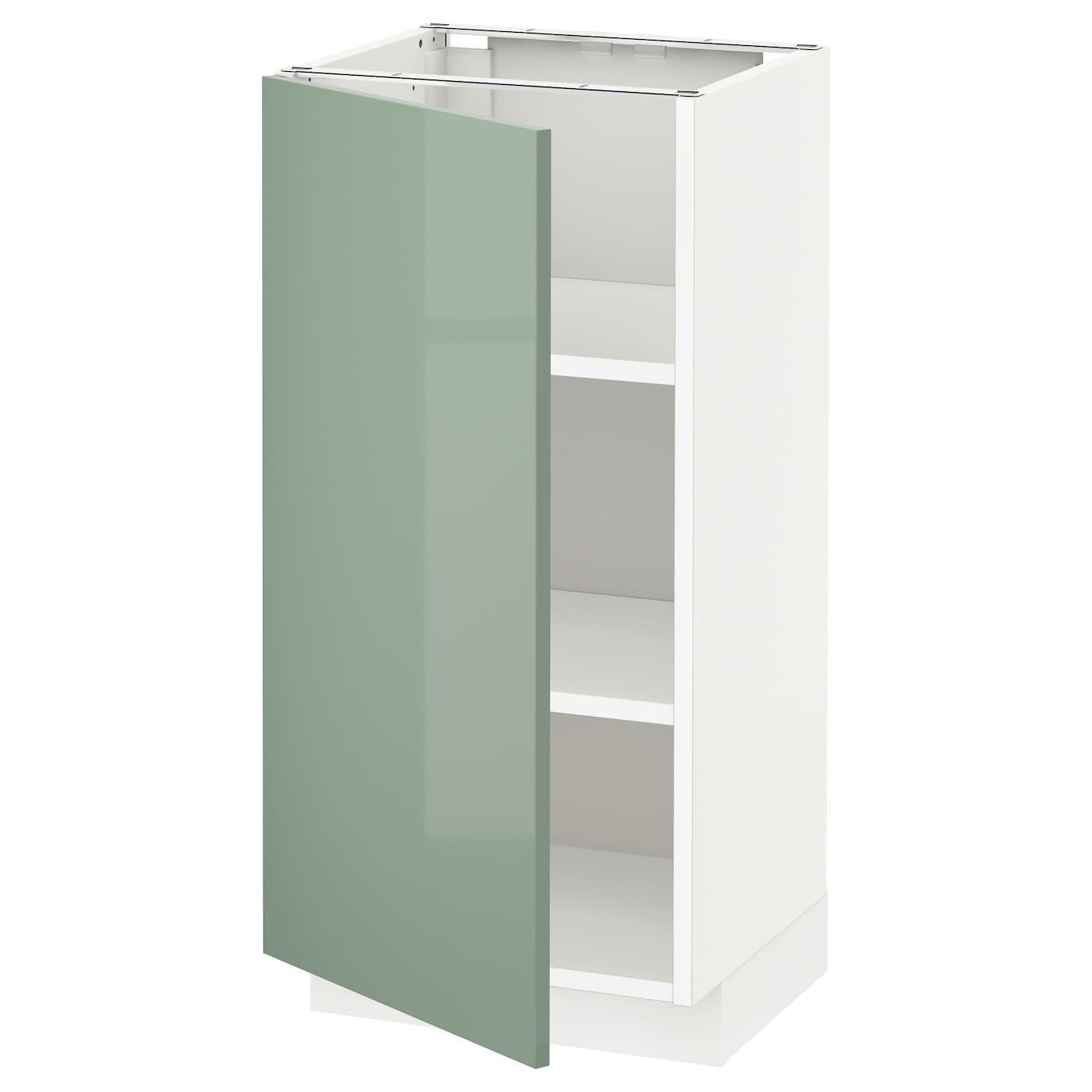 Ikea Green Kitchen Cabinets: METOD Base Cabinet With Shelves White/kallarp Light Green