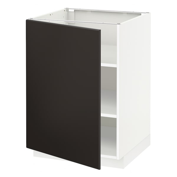 METOD Base cabinet with shelves, white/Kungsbacka anthracite, 60x60 cm