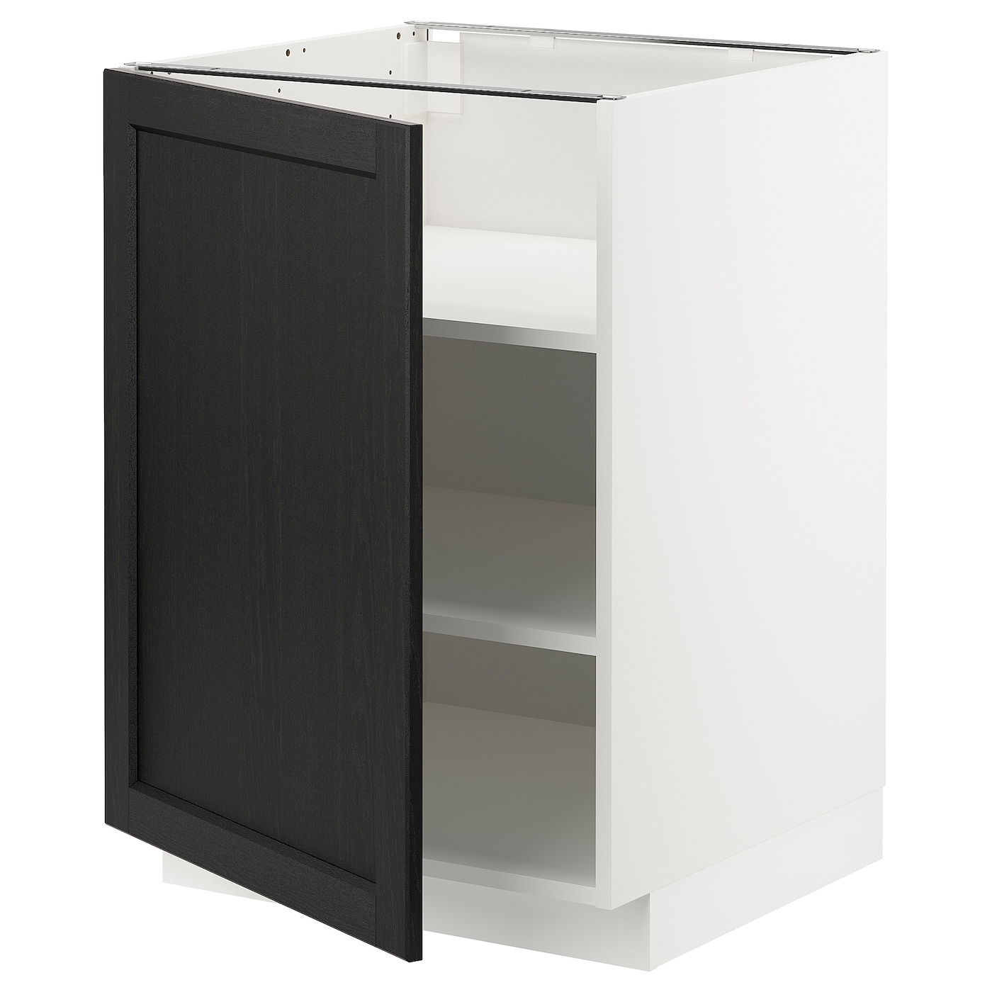 Metod Base Cabinet With Shelves White Lerhyttan Black Stained 60 X