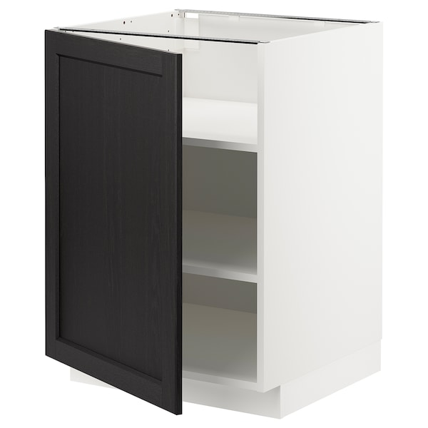 METOD Base cabinet with shelves, white/Lerhyttan black stained, 60x60 cm