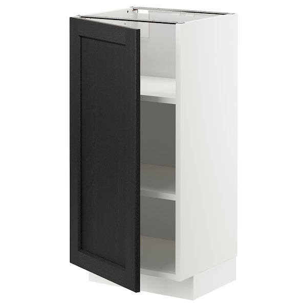 METOD Base cabinet with shelves, white/Lerhyttan black stained, 40x37 cm