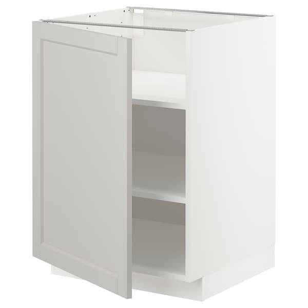METOD Base cabinet with shelves, white/Lerhyttan light grey, 60x60 cm