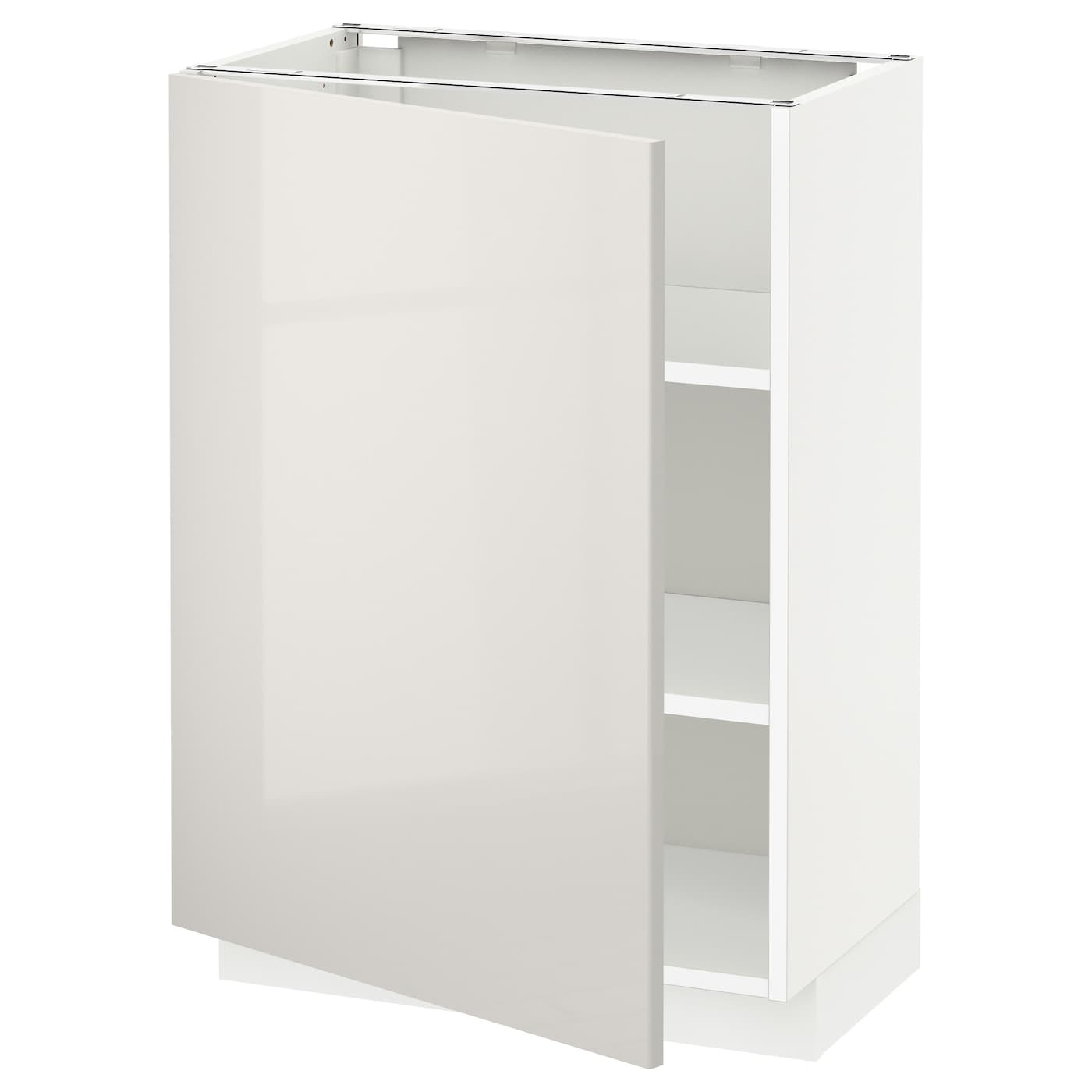 METOD Base cabinet with shelves White\/ringhult light grey 60x37 cm  IKEA