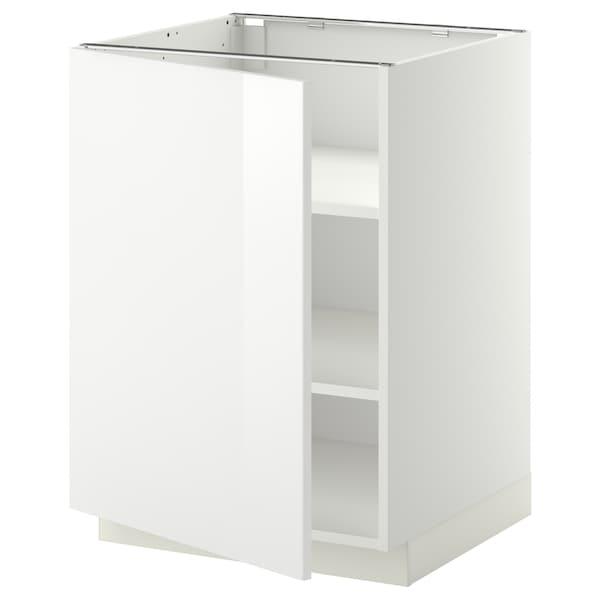 METOD Base cabinet with shelves, white/Ringhult white, 60x60 cm