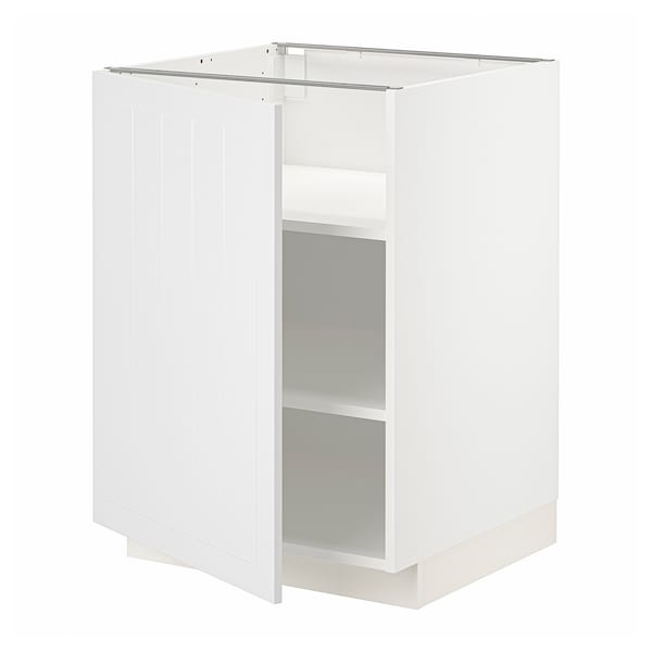 METOD Base cabinet with shelves, white/Stensund white, 60x60 cm