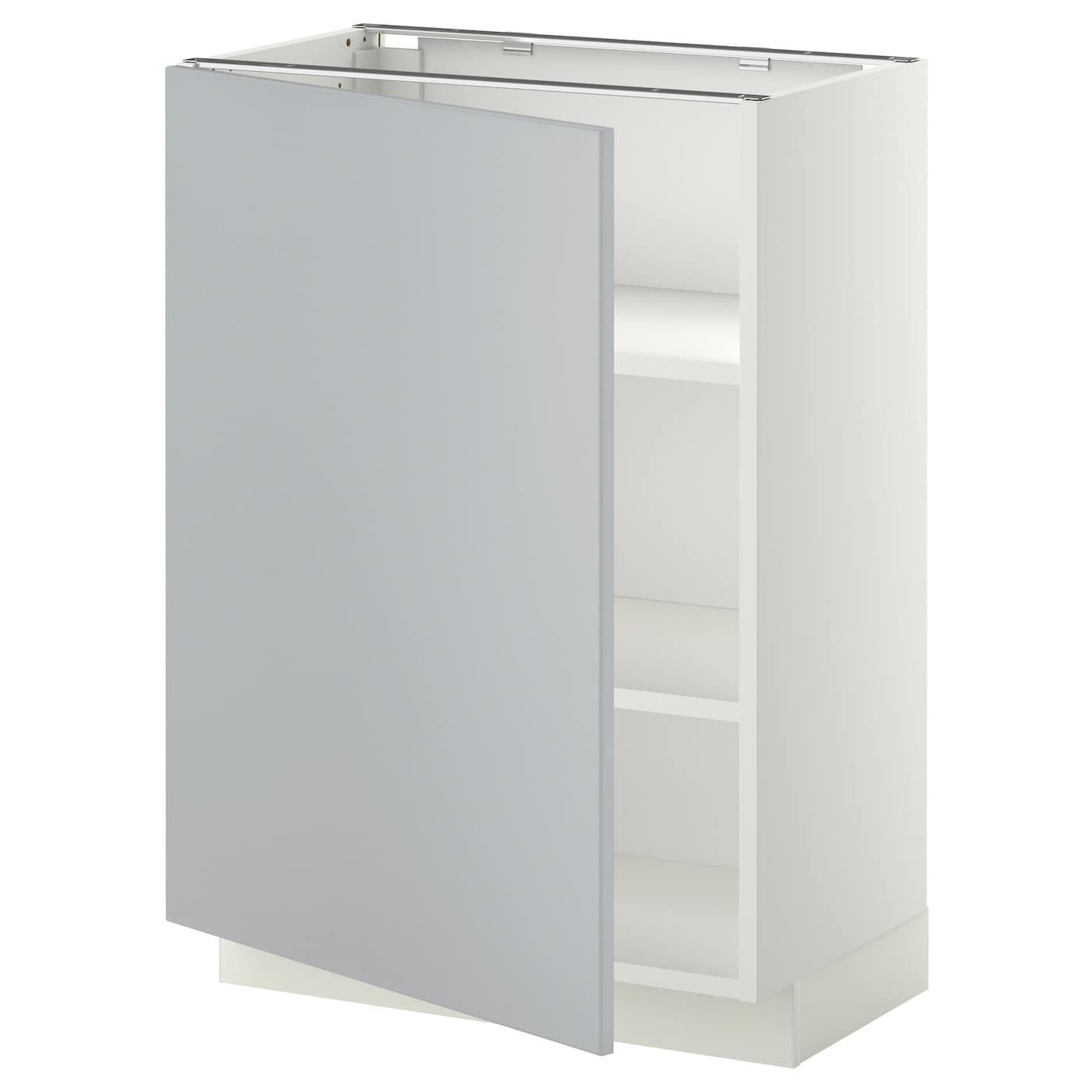 Metod base cabinet with shelves white veddinge grey 60x37 for Ikea base cabinets