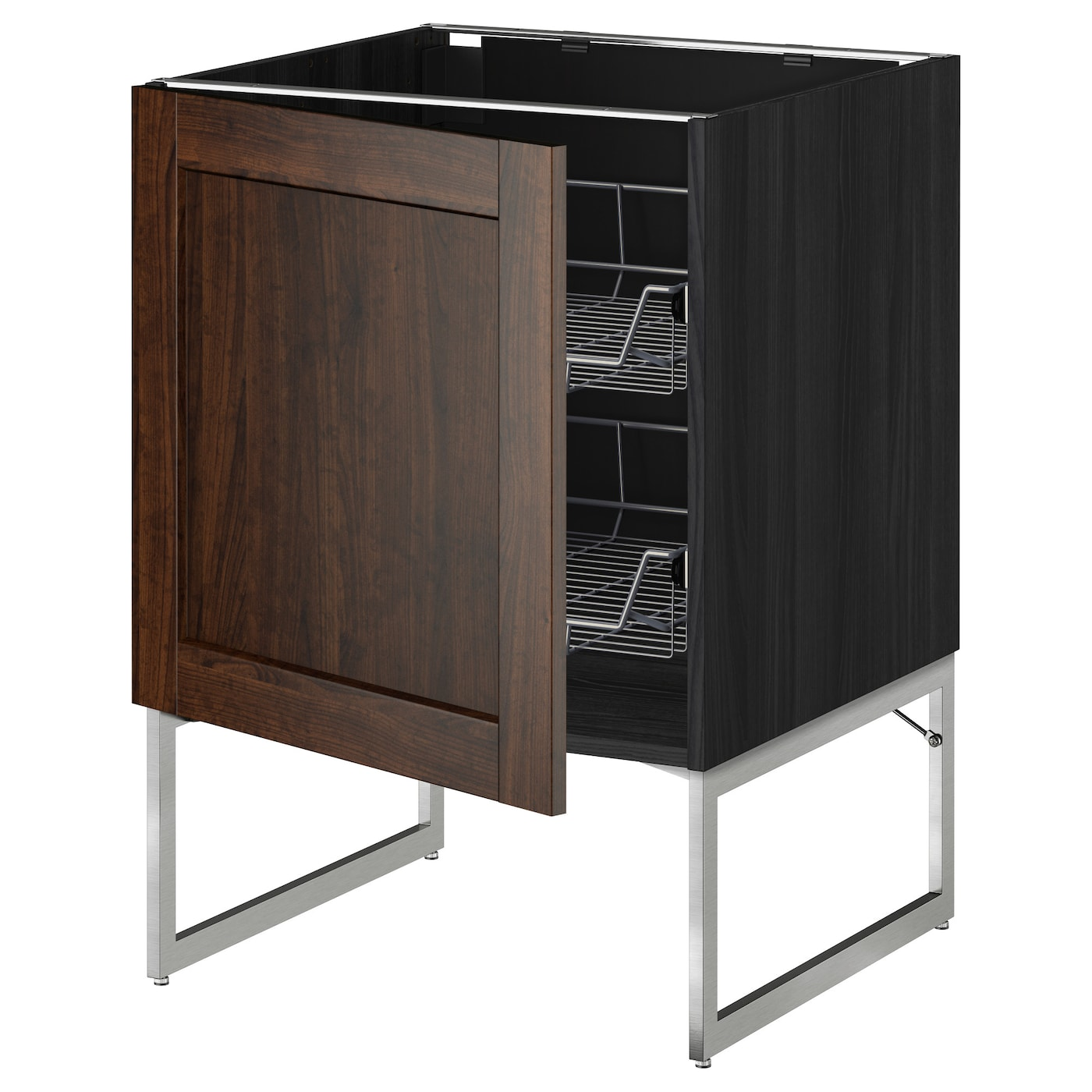 Metod base cabinet with wire baskets black edserum brown for Ikea kuche metod