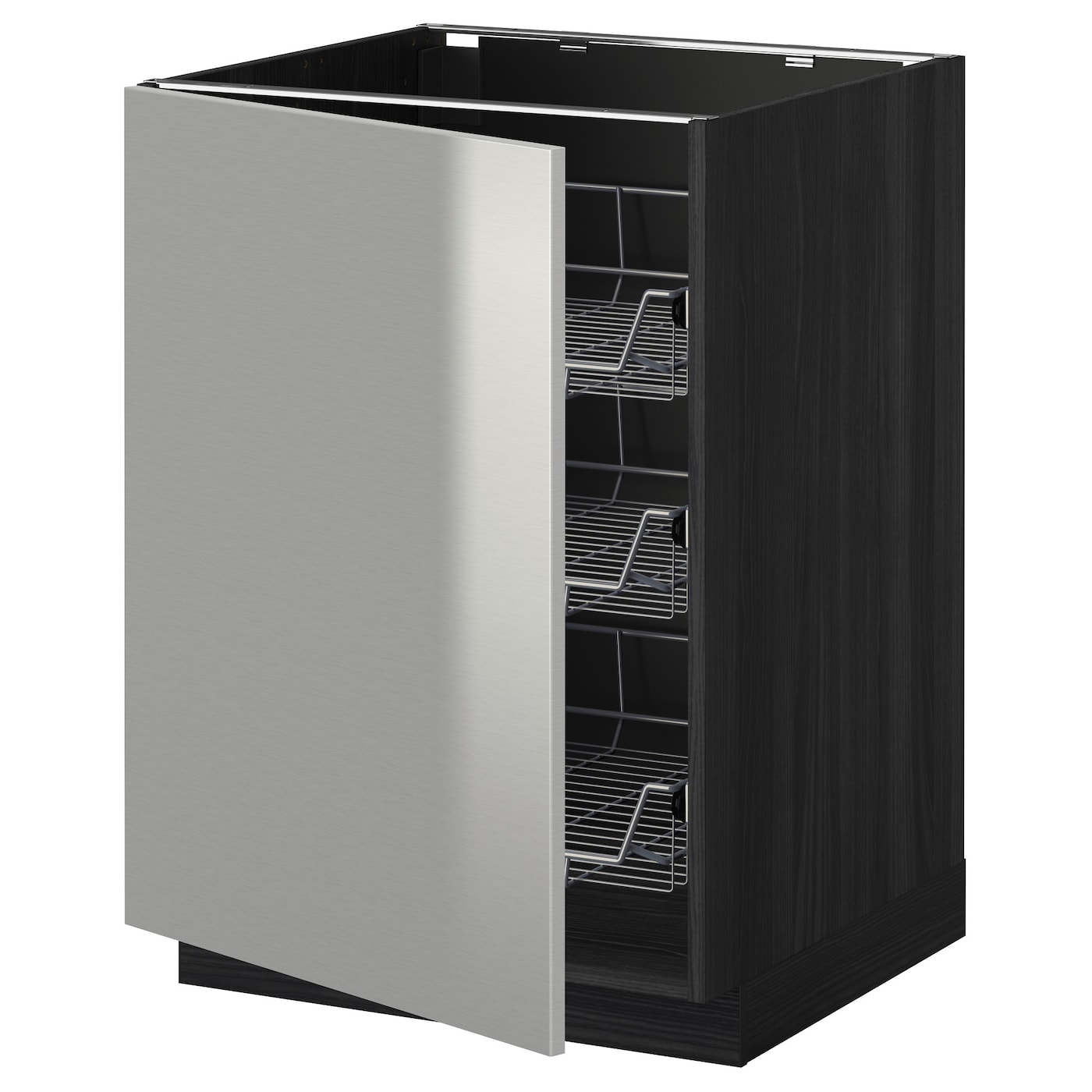 Metod base cabinet with wire baskets black grevsta for Stainless steel kitchen base cabinets