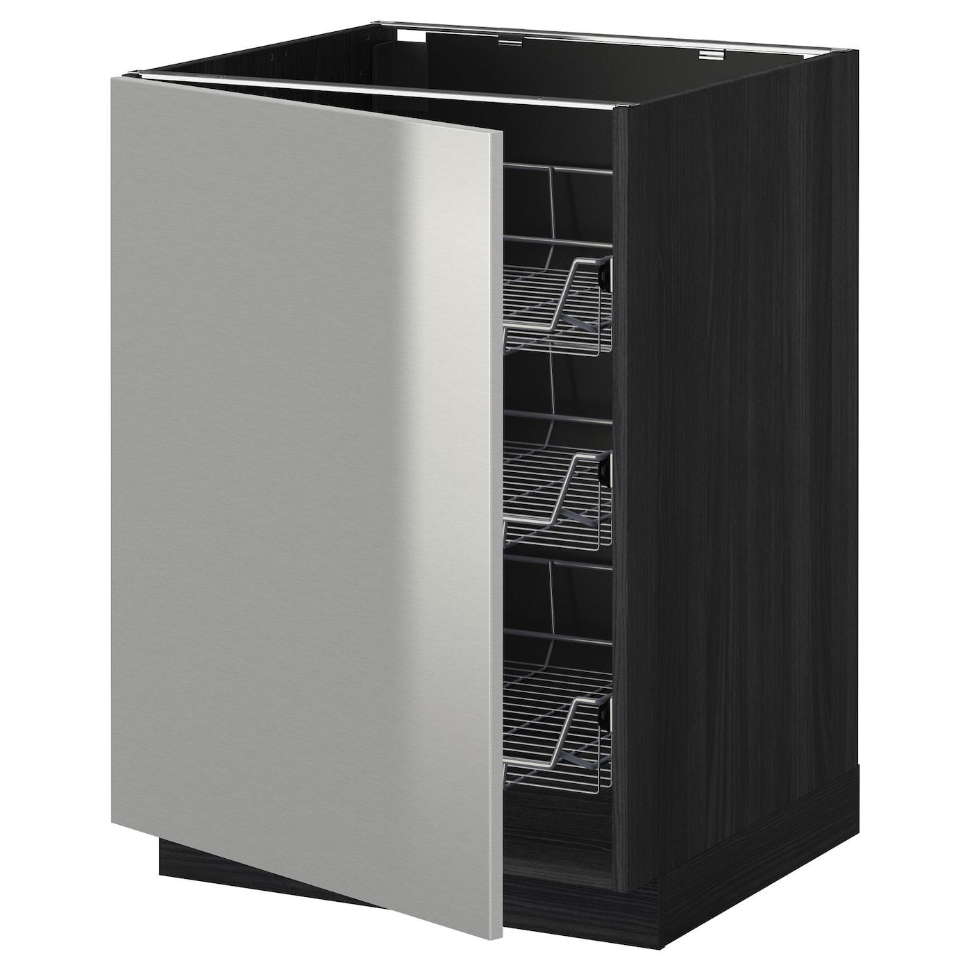 Metod Base Cabinet For Sink Black Järsta Orange 60x60 Cm: METOD Base Cabinet With Wire Baskets Black/grevsta