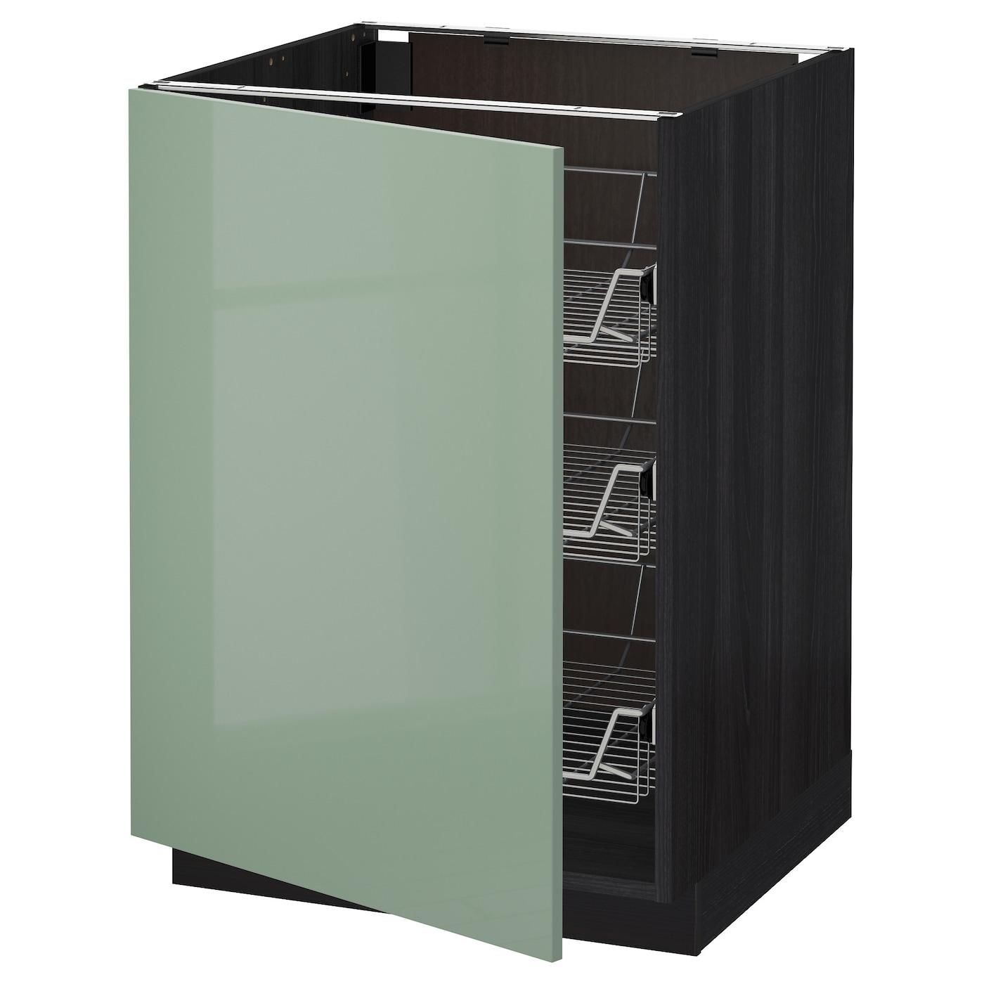 Ikea Green Kitchen Cabinets: METOD Base Cabinet With Wire Baskets Black/kallarp Light
