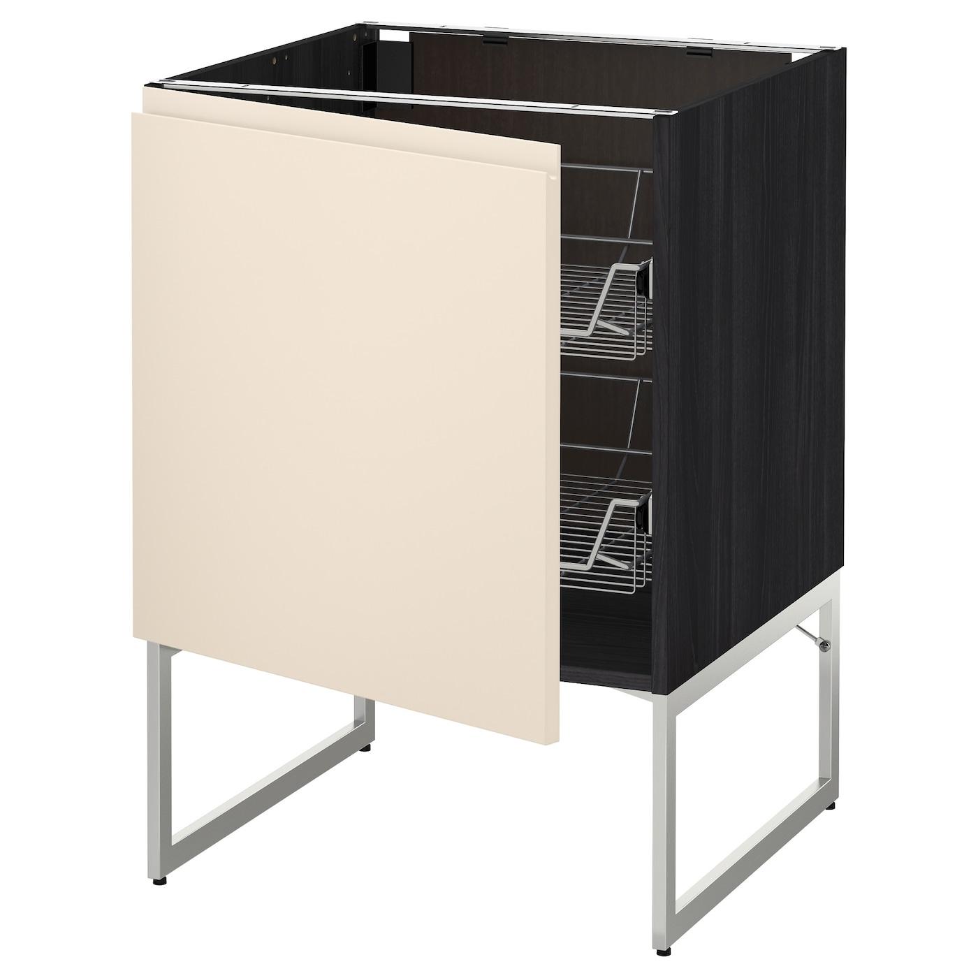 Metod base cabinet with wire baskets black voxtorp light for Black kitchen base cabinets