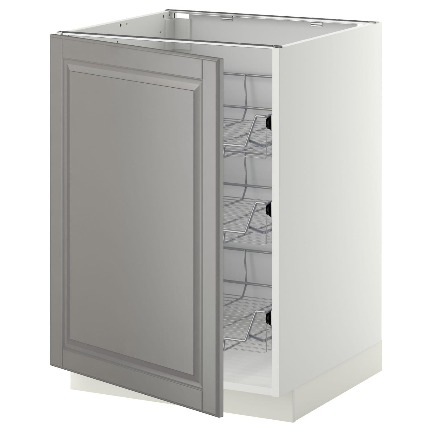 Ikea Bodbyn Kitchen Ikea Bodbyn Kitchen Grey And White: METOD Base Cabinet With Wire Baskets White/bodbyn Grey 60