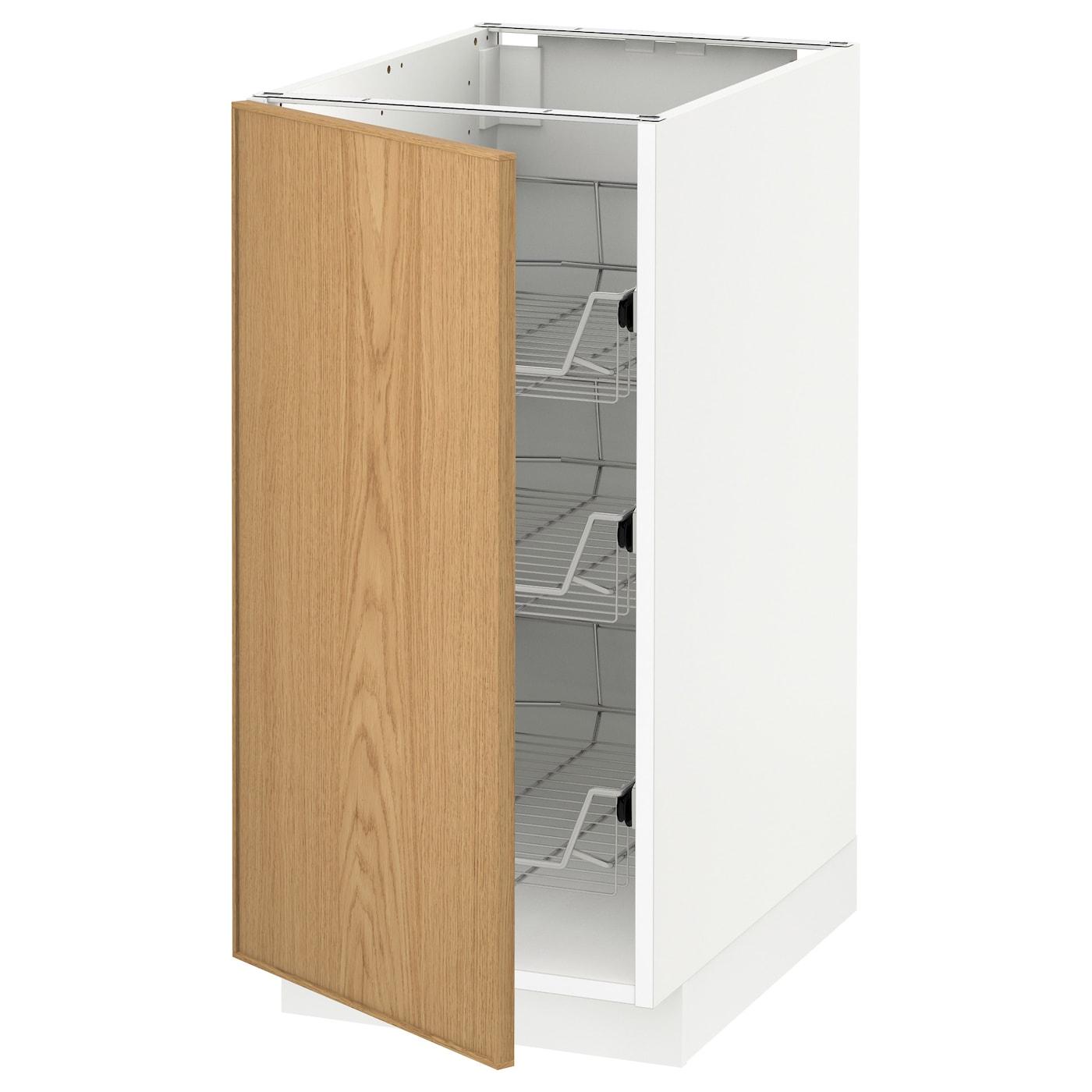 metod base cabinet with wire baskets white ekestad oak 40. Black Bedroom Furniture Sets. Home Design Ideas