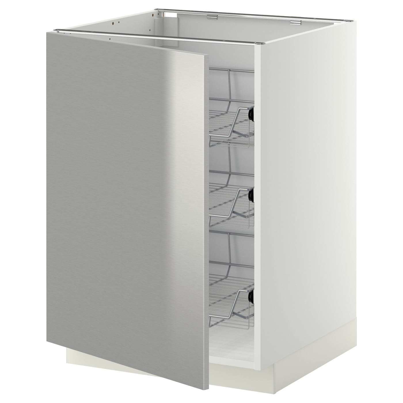 Stainless Steel Kitchen Base Cabinets: METOD Base Cabinet With Wire Baskets White/grevsta