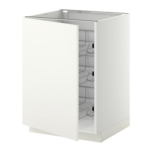 metod base cabinet with wire baskets white h ggeby white 60x60 cm ikea. Black Bedroom Furniture Sets. Home Design Ideas