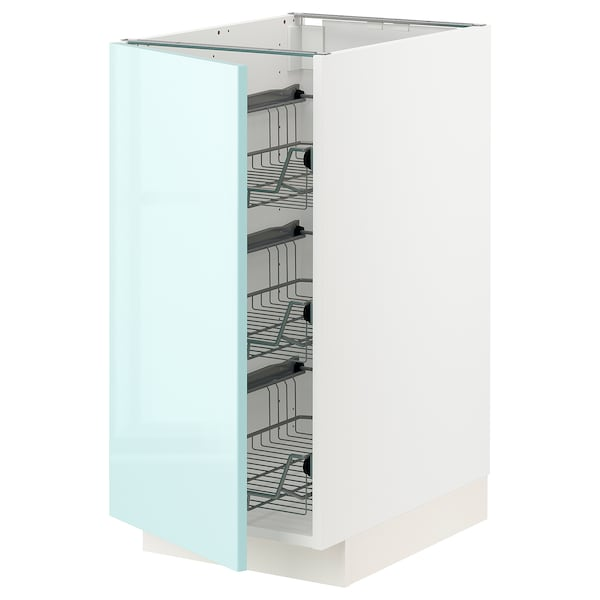 METOD Base cabinet with wire baskets, white Järsta/high-gloss light turquoise, 40x60 cm