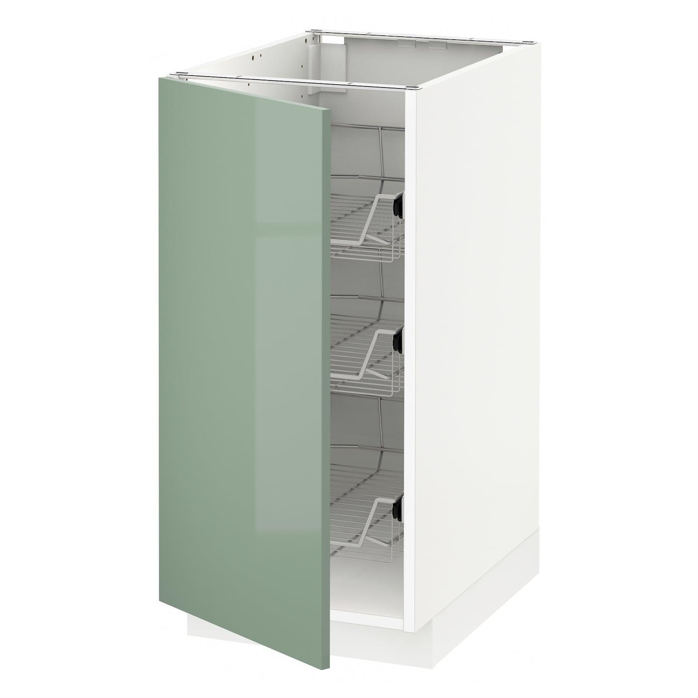 Ikea Green Kitchen Cabinets: METOD Base Cabinet With Wire Baskets White/kallarp Light