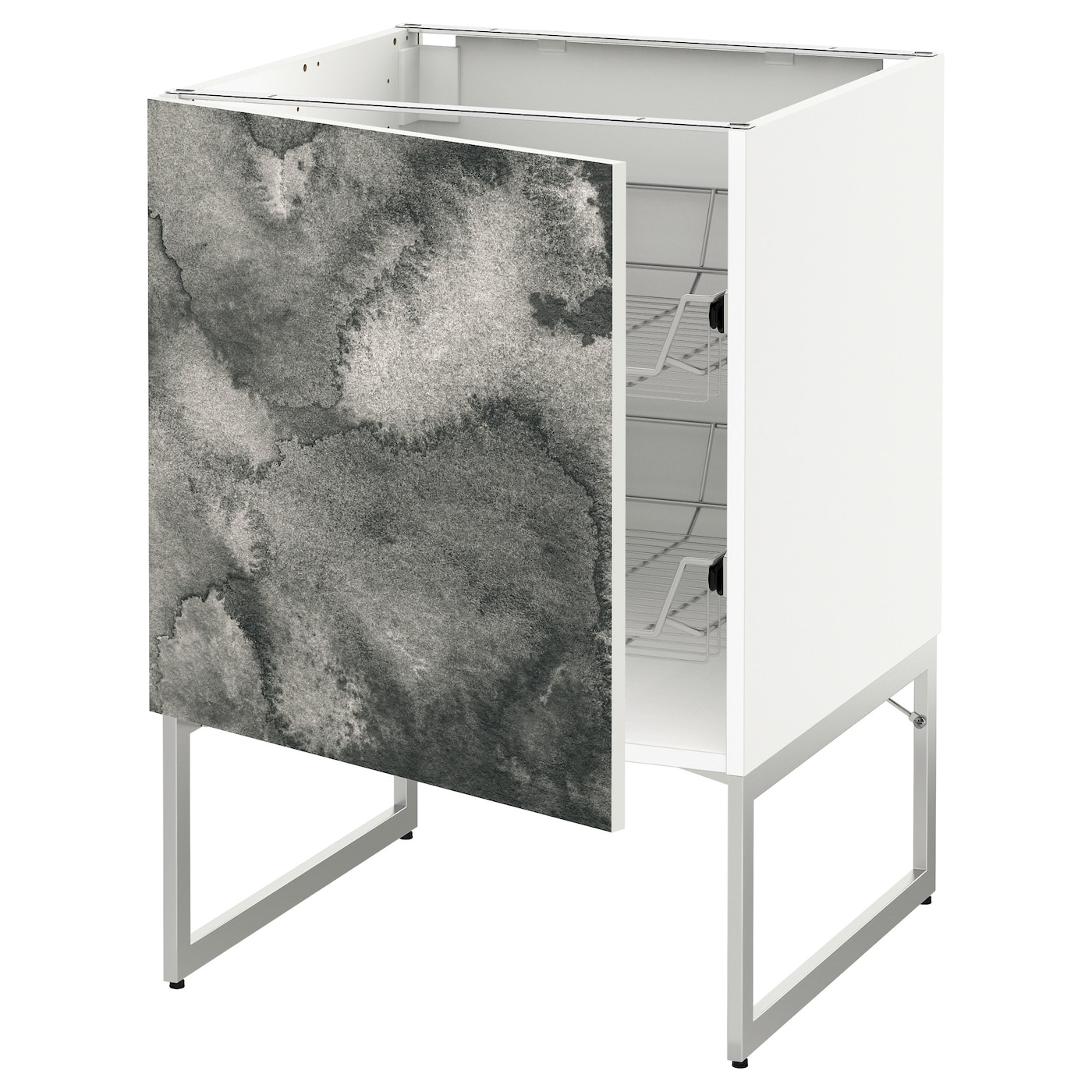 IKEA METOD base cabinet with wire baskets Smooth-running wire baskets with pull-out stop.
