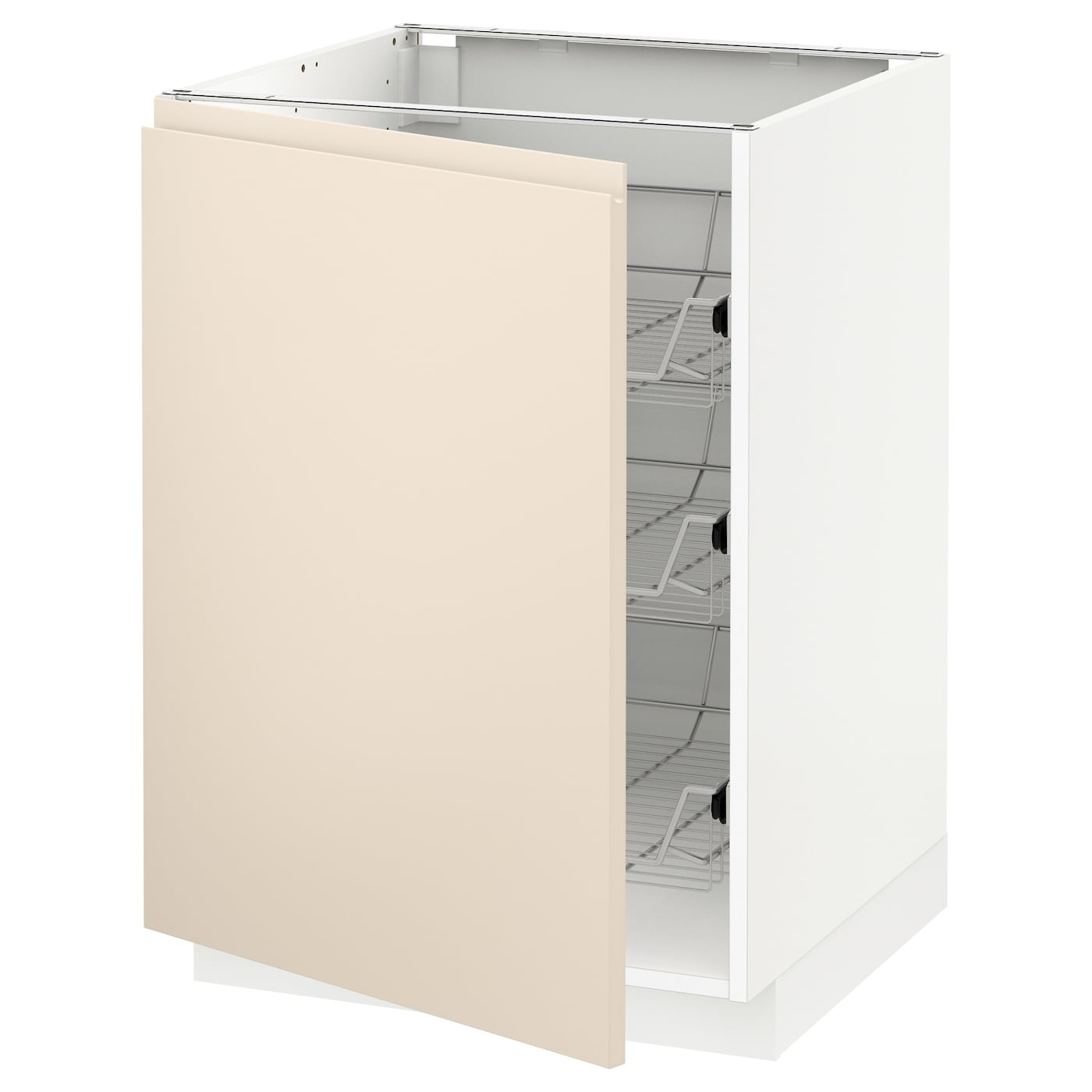 METOD Base Cabinet With Wire Baskets White/voxtorp Light