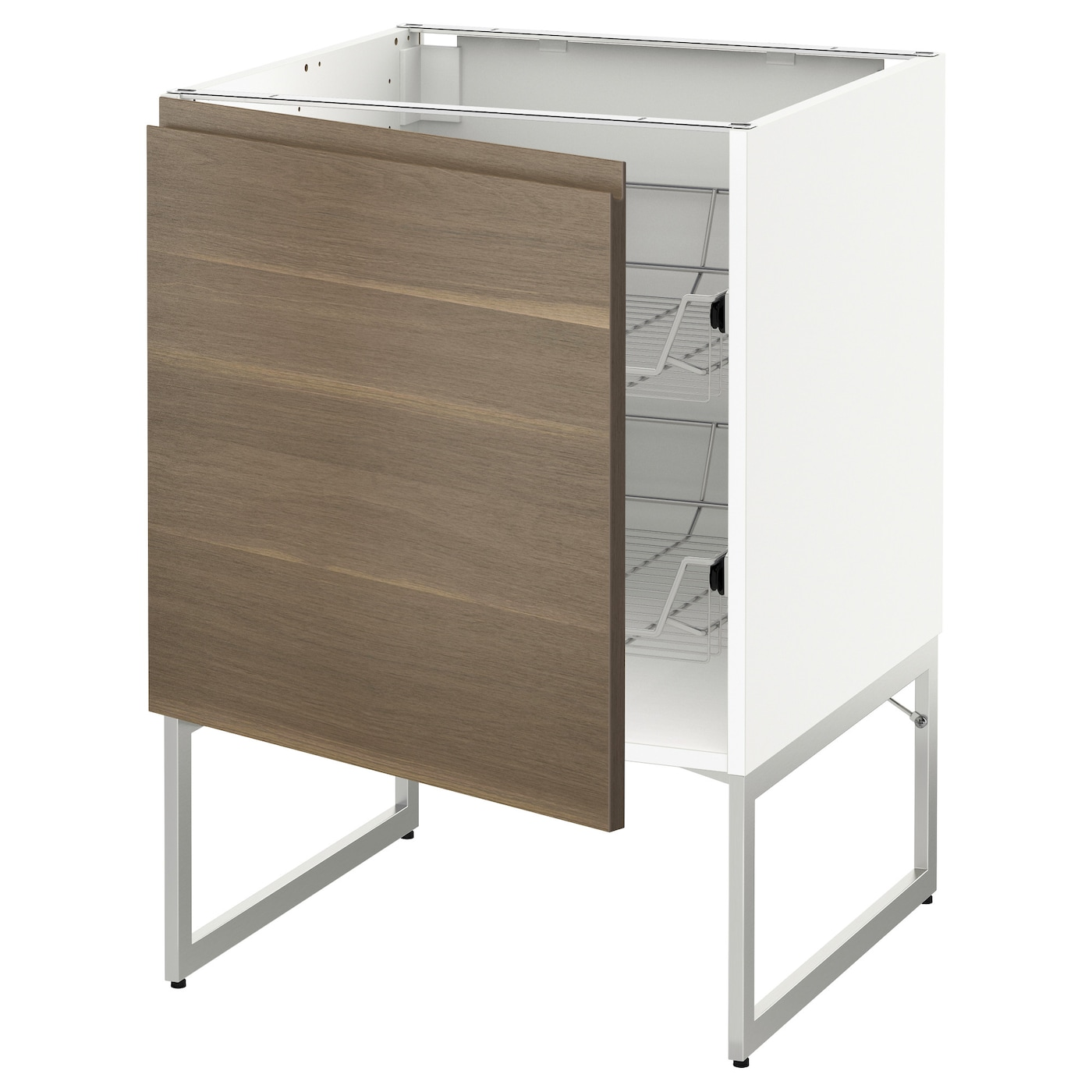Metod base cabinet with wire baskets white voxtorp walnut for Baskets for kitchen cabinets