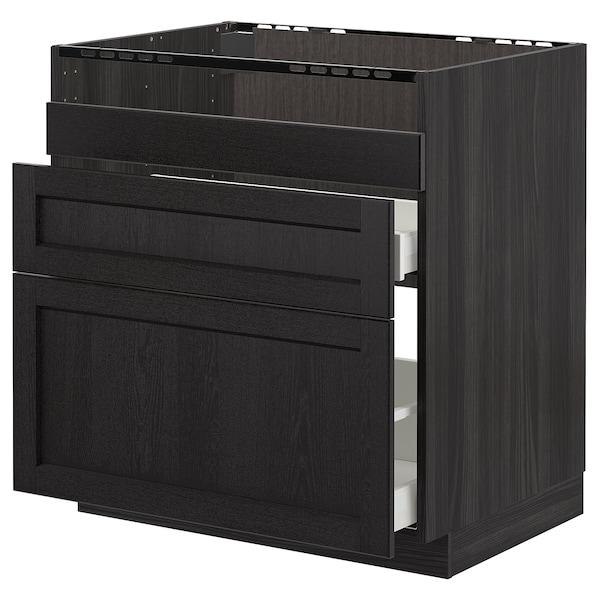METOD Base cb f HAVSEN snk/3 frnts/2 drws, black/Lerhyttan black stained, 80x60 cm
