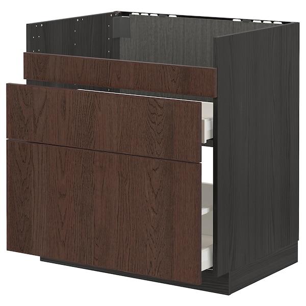 METOD Base cb f HAVSEN snk/3 frnts/2 drws, black/Sinarp brown, 80x60 cm