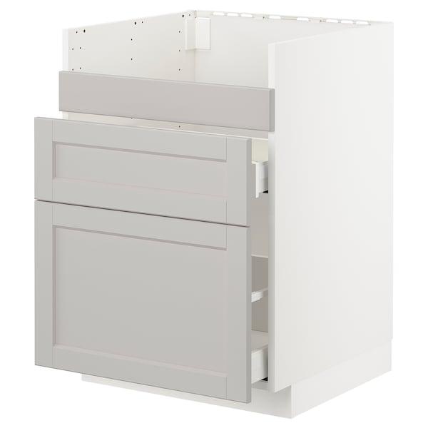 METOD Base cb f HAVSEN snk/3 frnts/2 drws, white Maximera/Lerhyttan light grey, 60x60 cm