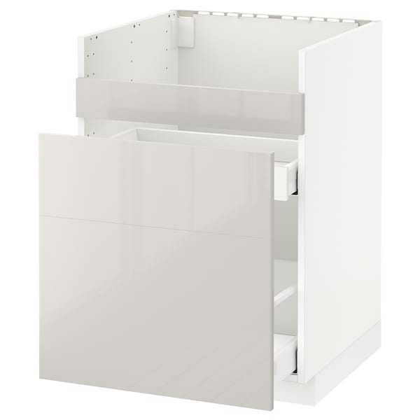 METOD Base cb f HAVSEN snk/3 frnts/2 drws, white Maximera/Ringhult light grey, 60x60 cm