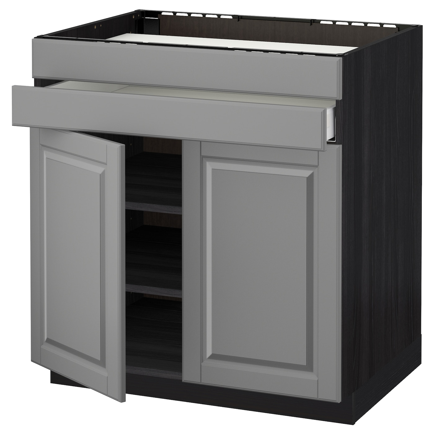 IKEA METOD base cb f hob/2 drs/2 fronts/1 drwr Smooth-running drawer with drawer stop.