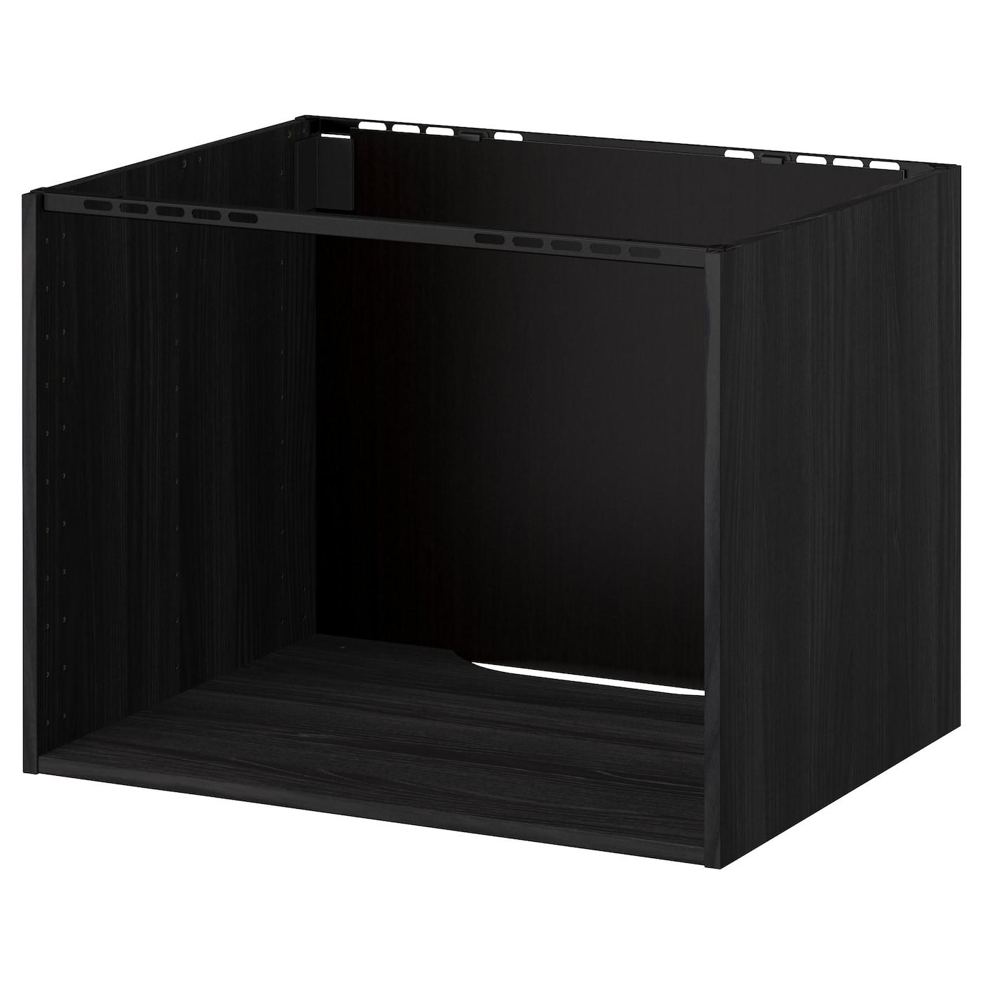 Black Built In Kitchen Cupboards: METOD Cabinet For Built-in Hob/sink Wood Effect Black