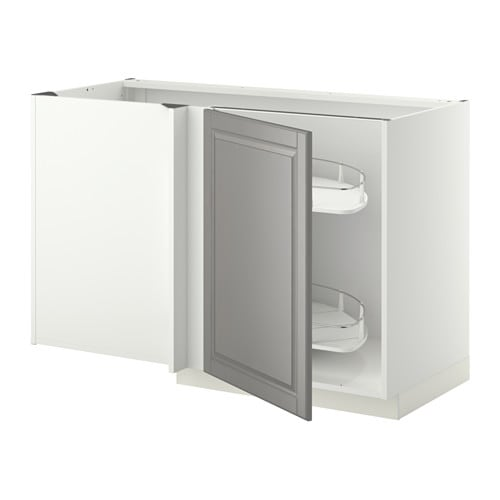 Metod corner base cab w pull out fitting white bodbyn grey for Meuble angle cuisine ikea