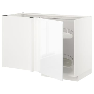 METOD Corner base cab w pull-out fitting, white/Voxtorp high-gloss/white, 128x68 cm