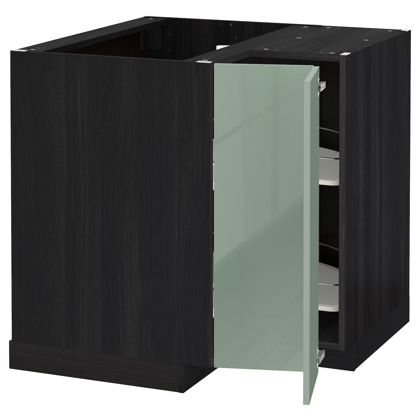 METOD Corner Base Cabinet With Carousel Black/kallarp