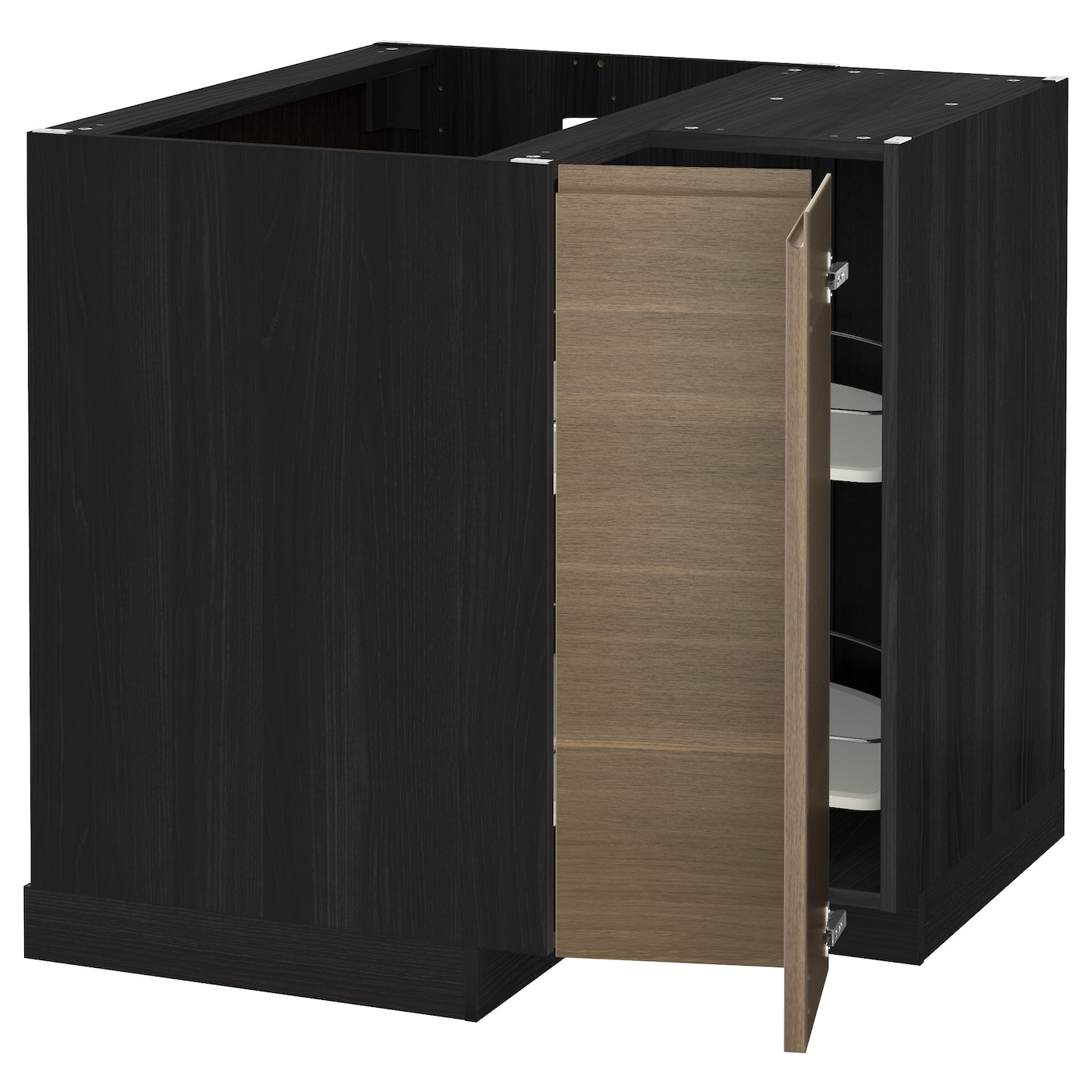 black base kitchen cabinets metod corner base cabinet with carousel black voxtorp 12317