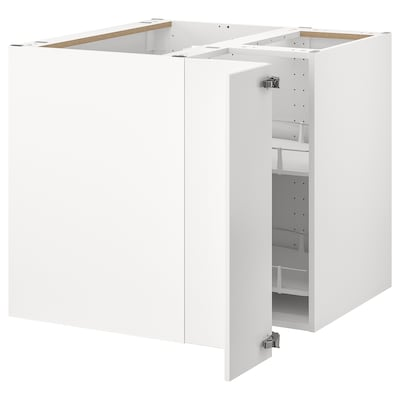 METOD Corner base cabinet with carousel, white/Veddinge white, 88x88 cm