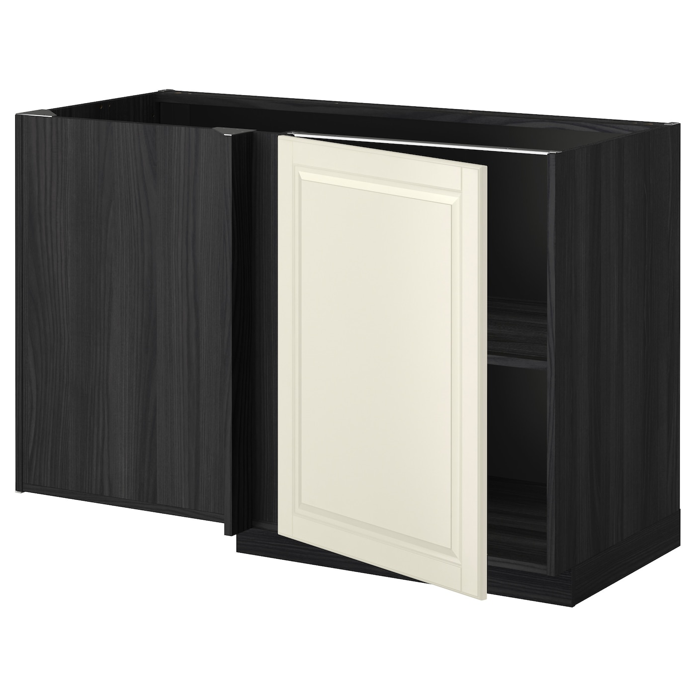 Metod corner base cabinet with shelf black bodbyn off for Off the shelf cabinets