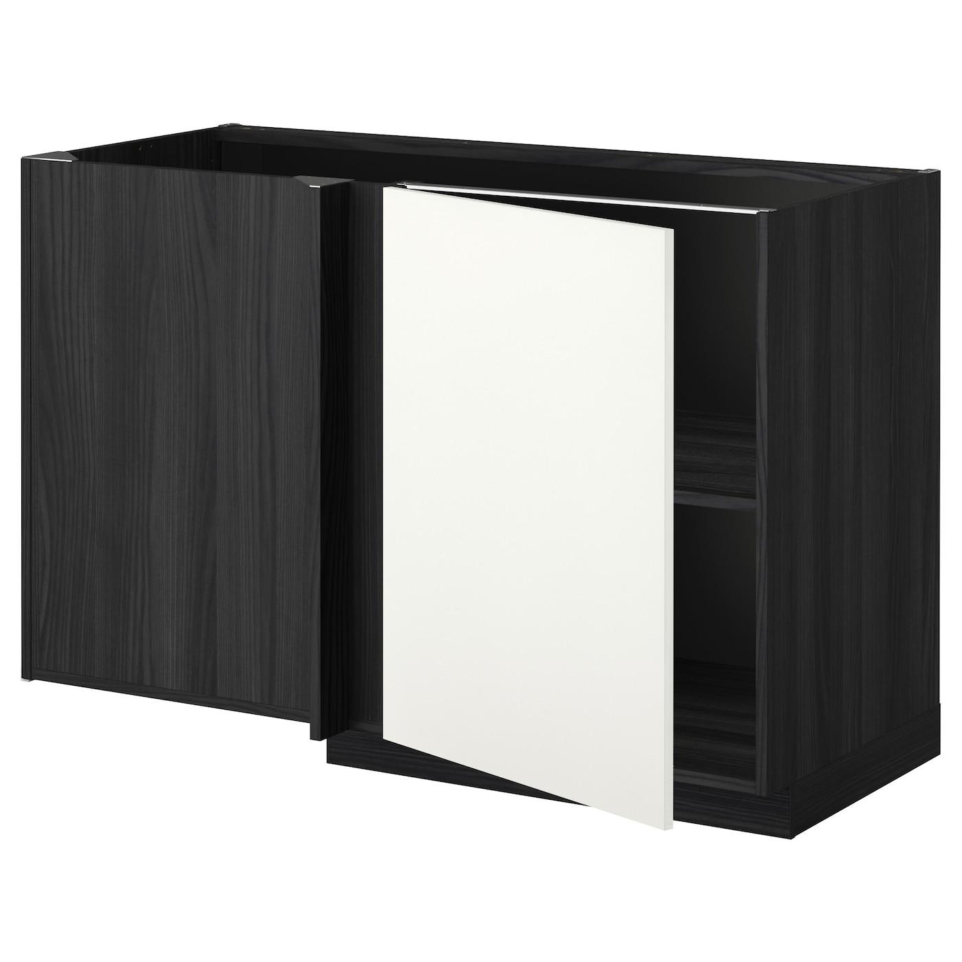 METOD Corner Base Cabinet With Shelf Black/häggeby White 128x68 Cm