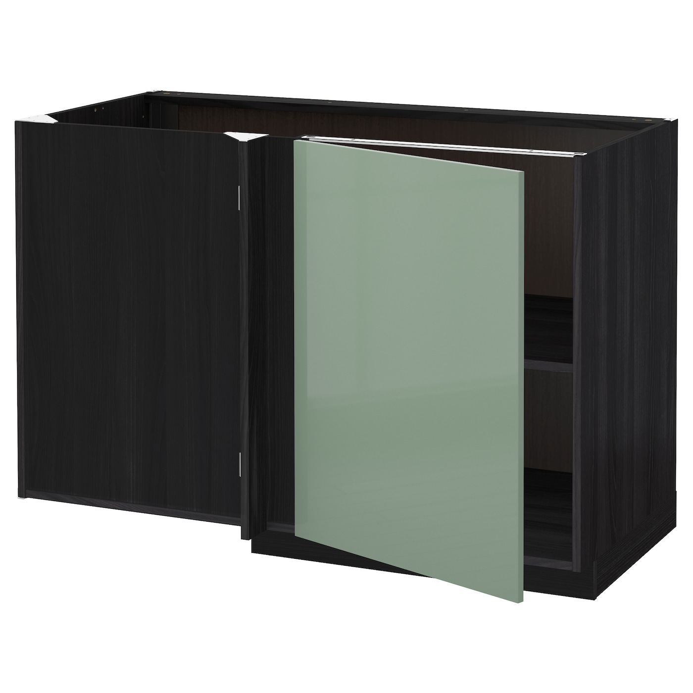 Metod Corner Base Cabinet With Shelf Black Kallarp Light Green 128x68 Cm Ikea