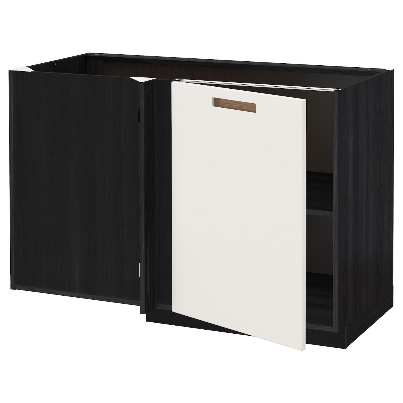 METOD Corner base cabinet with shelf Black märsta white
