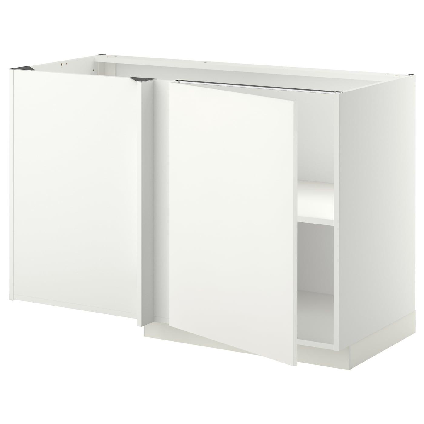METOD white, Häggeby white, Corner base cabinet with shelf ...