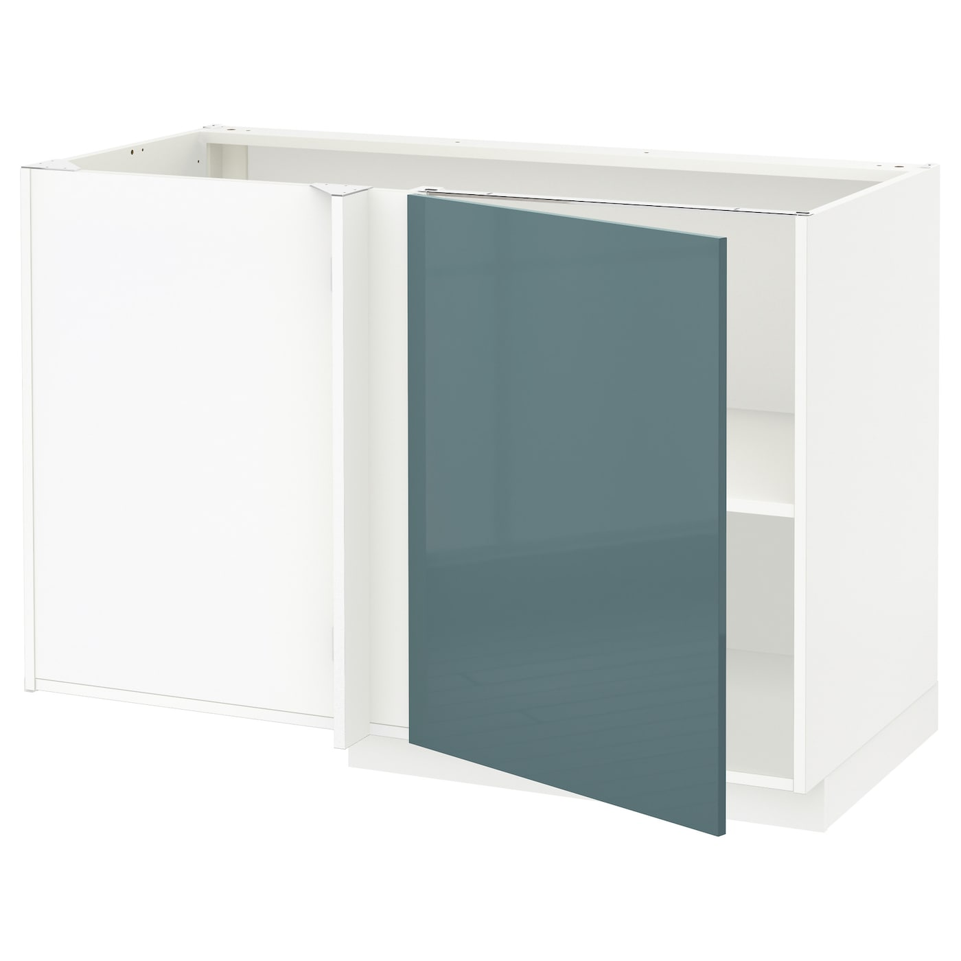 metod corner base cabinet with shelf white kallarp grey turquoise 128 x 68 cm ikea. Black Bedroom Furniture Sets. Home Design Ideas