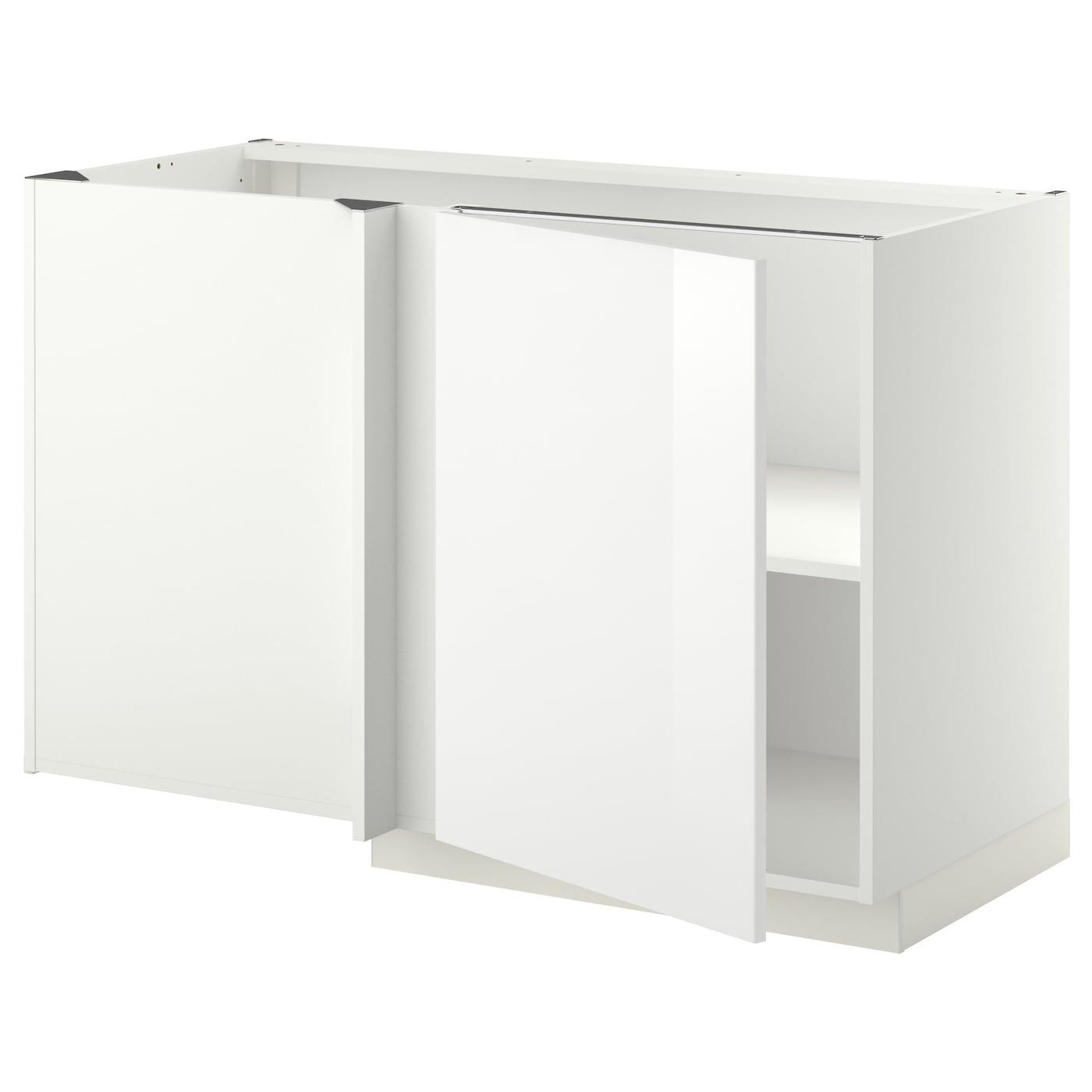 METOD Corner base cabinet with shelf White/ringhult white 128 x 68 ...