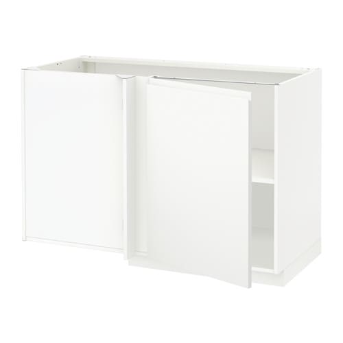 METOD Corner Base Cabinet With Shelf White/voxtorp Matt