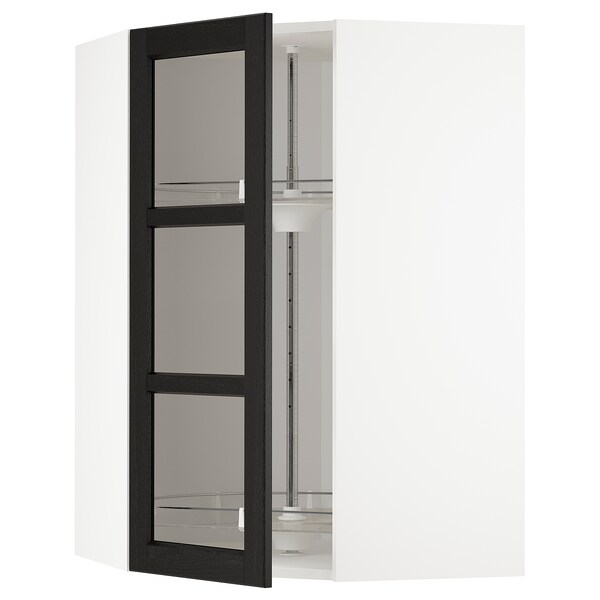 METOD corner wall cab w carousel/glass dr white/Lerhyttan black stained 67.5 cm 67.5 cm 100.0 cm