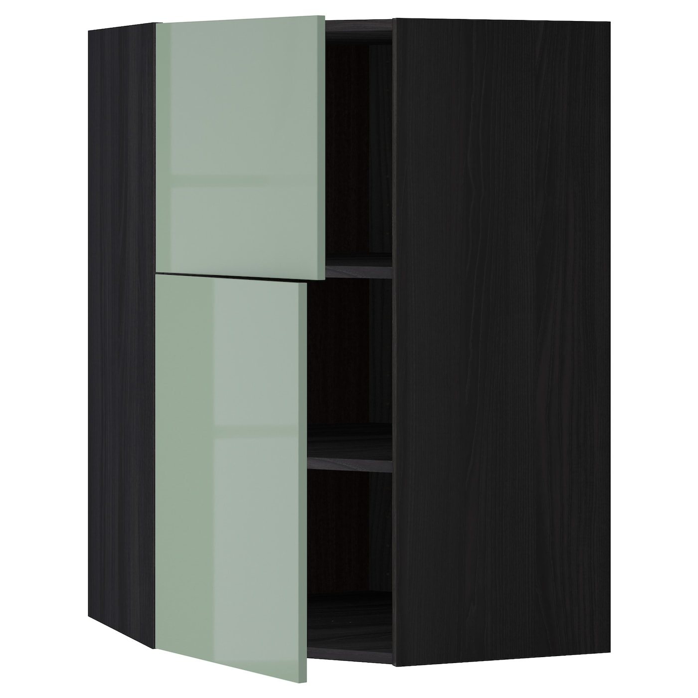 Metod Corner Wall Cab W Shelves 2 Doors Black Kallarp